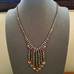 Vintage Amber Aurora Borealis Art Noveau Necklace